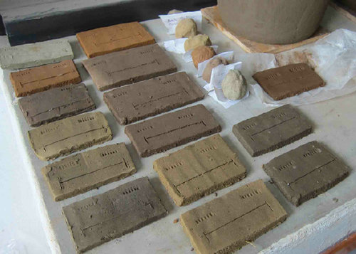 Test bars made from clay samples prior to firing in the kiln - Ceramic Water Filter Solutions